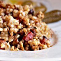 Recept : Zapečená pohanka s uzeným, hříbky a špekem   ReceptyOnLine.cz - kuchařka, recepty a inspirace Quinoa, Grains, Rice, Vegetables, Fitness, Food, Essen, Vegetable Recipes, Meals
