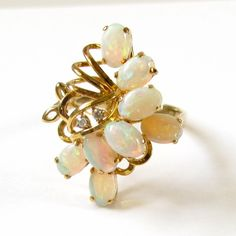 Vintage Opal Diamond Ring -  14K Yellow Gold Opal and Diamonds Ring -  Cocktail Ring - October Birthstone -  Size 5 3/4 - Fire # 4324 by WatchandWares on Etsy