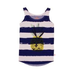 Noé & Zoë SS 16 - Loose tank in kobalt stripes with pineapple http://www.noe-zoe.com/Collections/SS-16/