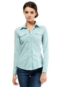 Green shirt for women with stripes