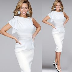 Womens Elegant Ruffle Sleeve Ruched Party Wear To Work Fitted Stretch Slim Dress