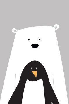 Polar bear and penguin wall art Pinguin Illustration, Cute Illustration, Polar Bear Illustration, Decoration Creche, Motifs Animal, Bear Art, Kids Prints, Christmas Art, Nursery Art