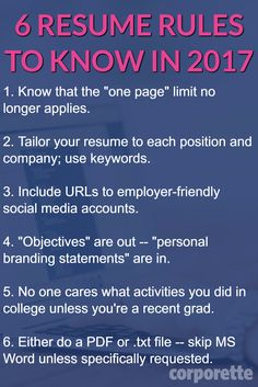 Do you agree with these resume rules? Lots of discussion among readers: 6 Resume Rules for 2017 That You May Not Know About http://corporette.com/resume-rules-for-2017/?utm_campaign=coschedule&utm_source=pinterest&utm_medium=Corporette%C2%AE&utm_content=6%20Resume%20Rules%20for%202017%20That%20You%20May%20Not%20Know%20About #onepageresume #resumekeywords