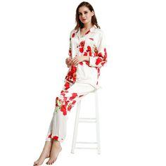 97645dd81b Womens Silk Satin Pajamas Set Pajama Pyjamas Set Sleepwear Loungewear S,M,  L,