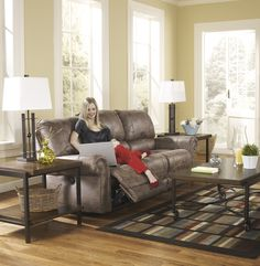 Oberson Contemporary Gunsmoke Fauxleather Reclining Sofa And Loveseat w/Console *** Check this awesome product by going to the link at the image. (This is an affiliate link)