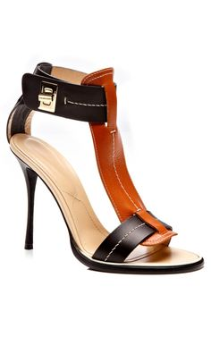 Black and Curry Calf T-Strap Twist Lock Sandal by Nicholas Kirkwood for Preorder on Moda Operandi