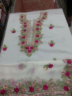 I want this salwar Embroidery Suits Punjabi, Zardozi Embroidery, Embroidery On Kurtis, Hand Embroidery Dress, Kurti Embroidery Design, Embroidery Neck Designs, Embroidery On Clothes, Embroidery Fashion, Floral Embroidery