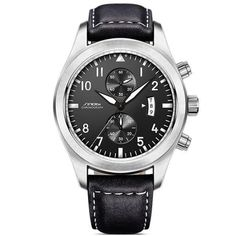 SINOBI Mens Military Chronograph Wrist Watches Luxury Brand Date Leather Clock Male Sports Shock Geneva Quartz Wristwatches 2017 Mens Sport Watches, Watches For Men, Wrist Watches, Men's Watches, Citizen Watches, Simple Watches, Leather Box, Black Leather, Classic Leather