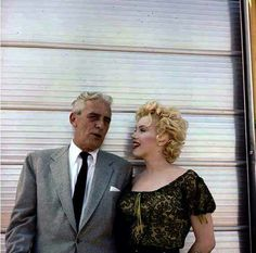 """Marilyn with producer Buddy Adler on the set of """"Bus Stop"""". Photo by Milton Greene, 1956."""