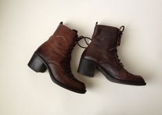 Vintage Italian Brown Leather Lace Up Boots/ Brown by Tukvintage, £28.00