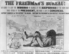 """One in a series of racist posters attacking Radical Republicans on the issue of black suffrage, issued during the Pennsylvania gubernatorial election of 1866. (See also """"The Constitutional Amendment!,"""" no. 1866-5.) The series advocates the election of Hiester Clymer, who ran for governor on a white-supremacy platform, supporting President Andrew Johnson's Reconstruction policies. In this poster a black man lounges idly in the foreground as one white man ploughs his field and another chops…"""