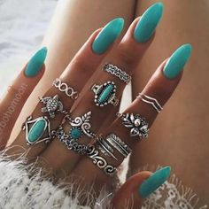 turqoise nails and rings