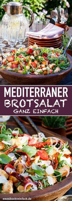 bread salad - made quick and easy - easy to cook - Mediterranean bread salad – www.emmikochteinf … -Mediterranean bread salad - made quick and easy - easy to cook - Mediterranean bread salad – www. Mediterranean Bread, Mediterranean Diet Recipes, Bread Salad, Vegetarian Recipes, Healthy Recipes, Healthy Salads, How To Make Salad, Summer Recipes, Food Inspiration