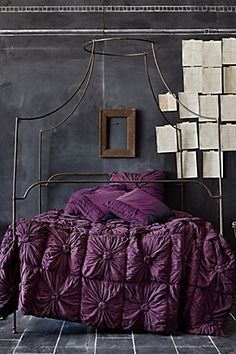 Anthropologie Sumptuous Purple bedding, Unusual 4 poster, blackboard wall so I can create straight out of dreams, paper note stuck to wall becomes both inspiration board and temporary decoration. Dream Bedroom, Home Bedroom, Bedroom Decor, Bedroom Colors, Bedroom Ideas, Fairy Bedroom, Bedroom Loft, Wall Decor, Anthropologie Bedding