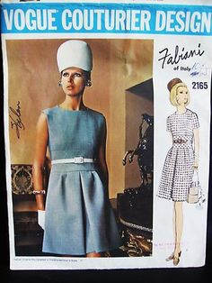 """Vintage Vogue Couturier 2165 Fabiani of Italy Mod Dress Pattern 34"""" - Short dress, shaped neck, with or without sleeves, empire waist with bias cut midsection, purchased belt worn above waistline, skirt has side tucks and inverted front pleat, eBay"""