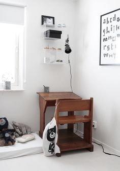 vintage desk in a modern black & white room