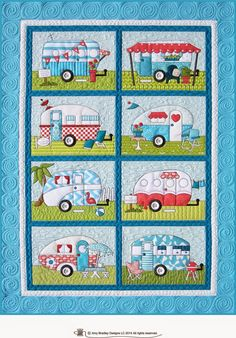 Campers quilt pattern includes full size patterns, placement sheets, and instructions to make a x Camper Trailer Quilt. Quilting Projects, Quilting Designs, Sewing Projects, Quilting Templates, Quilting Ideas, Quilt Baby, Applique Patterns, Applique Quilts, Block Patterns