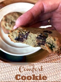 Need a cookie, NOW? The Comfort Cookie is a delicious & healthy sugar-free, grain-free, egg-free,dairy-free chocolate chip cookie--in less than 10 minutes. Candida Diet Recipes Snacks, Anti Candida Recipes, Snack Recipes, Vegan Recipes, Cooking Recipes, Vegan Protein Snacks, Healthy Cookies, Vegan Desserts, Dessert Healthy