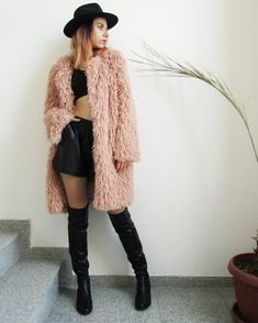 Blush Coat / Dusky Pink Fuzzy Coat / Long Sleeve Fur Coat by FabraModaStudio / Layering Outfits, Casual Outfits, Long Beige Coat, Fuzzy Coat, Pink Fuzzy Jacket, Dark Denim Jacket, Fall Winter Outfits, Colored Blazer, Fall Coats