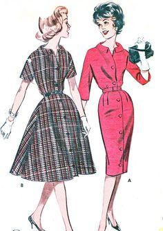 1960s Dress Pattern Butterick 9398 Full Skirt Slim Skirt Kimono Sleeve Shirtdress Front Button Dress Womens Vintage Sewing Pattern Bust 34