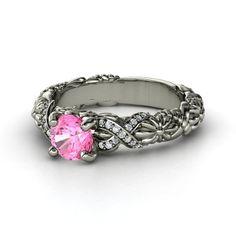 Round Pink Sapphire Platinum Ring with Diamond & Diamond  - Knotted Bouquet Ring | Gemvara