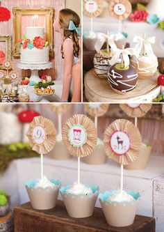 woodland birthday party desserts with caramel apples, cupcakes and a white cake