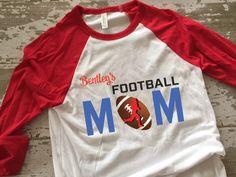 Personalized Football Mom Baseball TShirt