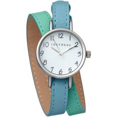 TOKYObay Blue Two-Tone Leather Wrap Watch ($120) ❤ liked on Polyvore
