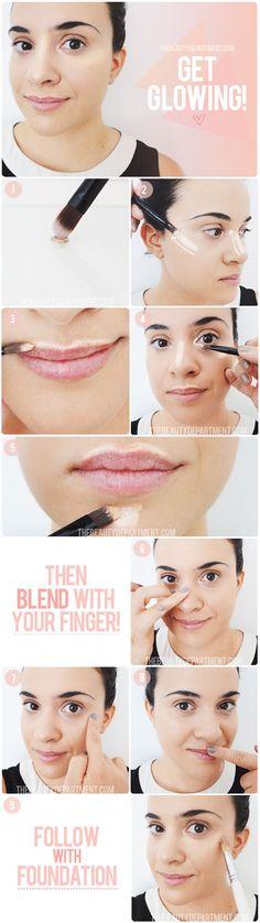 DIY Highlighting girl makeup make up beauty diy diy ideas do it yourself easy diy diy tips diy makeup diy fashion diy tutorials highlights