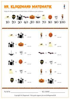 Klogemand - gratis matematikopgaver til print Dyscalculia, Home Schooling, Halloween, Coloring Books, Parenting, Teacher, Education, Crossword, Ark