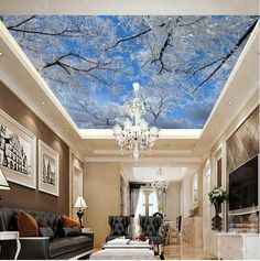 9.68$  Buy now - http://alioxc.shopchina.info/go.php?t=32809207134 - 3D Photo Mural Wall Paper HD Winter Snow Tree Birch Wallpaper for Living Room Ceiling Mural Wallpapers Roll Landscape  #SHOPPING