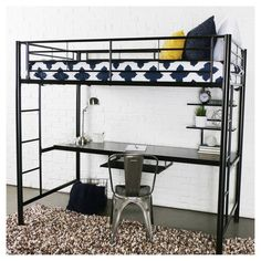 The Forest Gate Twin Loft Bed with Workstation is ideal for tight spaces. By tucking the computer work area under the bed, this steel desk and bed combo will easily fit in your child's room. Integrated ladders allow access from either end. Safe Bunk Beds, Kid Beds, Loft Beds, Bunk Bed With Desk, College Bedding, Adjustable Shelving, Dorm Room, Child's Room, Twin