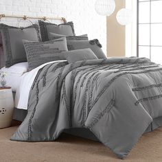 Give your bed a makeover with this eight-piece comforter set that includes matching shams, bedskirt and decorative pillows. Queen Comforter: W x L. King Comforter: W x L. Queen Comforter Sets, Gray Comforter, Bedroom Comforter Sets, Gold Bedding, Bed In A Bag, Textiles, Luxury Bedding Sets, Cool Beds, Shopping