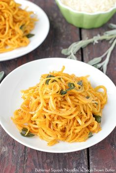 The consistency of pasta, Butternut Squash noodles are perfectly paired with a Sage Brown Butter and ready in less than 30 minutes! Gluten-free, vegetarian.