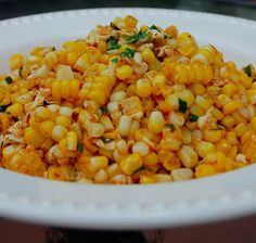 savory spicy sweet: Bobby Flay's grilled corn salad with lime, red chili + cotija