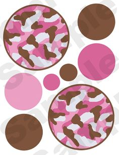 32 PINK BROWN CAMO POLKA DOTS CIRCLES BABY GIRL NURSERY WALL ART STICKERS DECALS