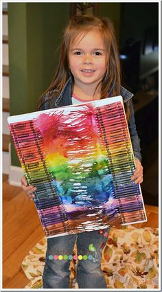 Kids DIY melted crayon art - For day of school project - 100 crayons maybe write 100 in masking tape so when you peel the tape the white canvas reveals the numerical 100 Kindergarten Shirts, Kindergarten Posters, Kindergarten Projects, School Posters, 100 Day Project Ideas, 100 Day Of School Project, School Projects, Projects For Kids, Diy For Kids