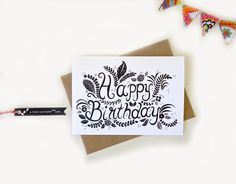 Beautiful Drawn Happy Birthday Card