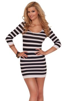 b8f78b306e3 Amazon.com  Womens Bodycon Casual Party Seamless Striped Scoop Neck 3 4  Sleeve Mini Dress  Clothing