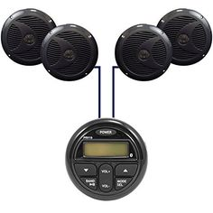 """New Milennia PRV19 Bluetooth Marine Boat Yacht Gauge Style AM/FM 4 x 40W Stereo Player w/ Rear USB Input With 4 X 6.5"""" Inch Marine Waterproof Speakers - Marine Audio Kit (Black). Package Includes: 1 Stereo 4 X Speakers. PRV19 Gauge Style AM/FM/BT 4 x 40W Stereo w/Rear USB InputFeatures:AM/FM4 x 40 wattsAux InputUSB InputAll-weather faceplateUV StableFits a standard tachometer openingBluetooth Audio Streaming Color Black Auxiliary Input Yes. 6.5 Dual Cone Full Range speakers, Completely..."""