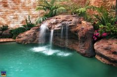 An amazing selection of personal waterfalls and fountains for your backyard makeover, including cascading water features and self-contained outdoor waterfall ponds. Swimming Pool Pictures, Swimming Pools, Indoor Swimming, Swimming Pool Waterfall, Indoor Waterfall, Waterfall Fountain, Backyard Pool Landscaping, Backyard Waterfalls, Landscaping Ideas
