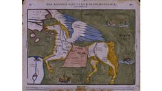 Asia as Pegasus the mythical winged horse c1580. The horse is drawn fairly realistically, so that the shape of Asia has to be adjusted; the Caspian Sea lies horizontally between the wings and the saddle, and modern India is the off hind leg.