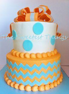 Tiffany blue and orange chevron — Birthday Cake Photos