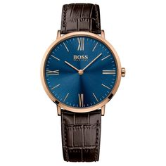 This Hugo Boss 1513369 Mens watch from the Jackson collectionhas around polishedstainless steel case with a black colour dial.This Hugo Boss watch is water resistant. Hugo Boss Watches, Watches For Men, Men's Watches, Dream Watches, Fashion Watches, Brown Leather Strap Watch, Grey Leather, Emporio Armani, Daniel Wellington