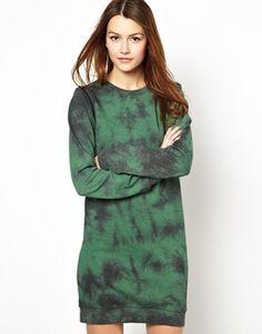 Sweater Dress With Zip Off Sleeve Detail In Tie Dye