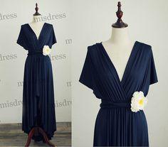 Cap Sleeves Navy Blue Bridesmaid Dress Infinity Dress Jersey Wrap Convertible Dress Wedding Dress Asymmetrical Hi Low Dress