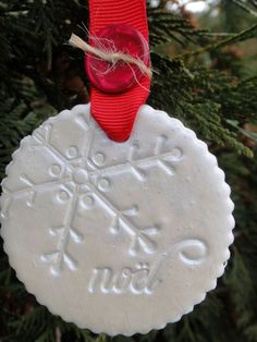 Diy lace snowflake ornaments pinterest snowflake ornaments holiday clay ornaments solutioingenieria Images