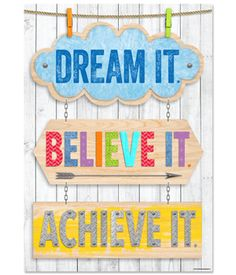 """Dream it. Believe it. Achieve it. Inspire U Poster, EDUCATİON, """"Dream it. Believe it. Achieve it."""" Every accomplishment starts with an idea or dream, a belief in one& self and that dream, and the dedication t. Classroom Quotes, Classroom Posters, Primary Classroom, Classroom Design, Classroom Displays, Classroom Themes, Classroom Wall Decor, Classroom Organization, Classroom Management"""