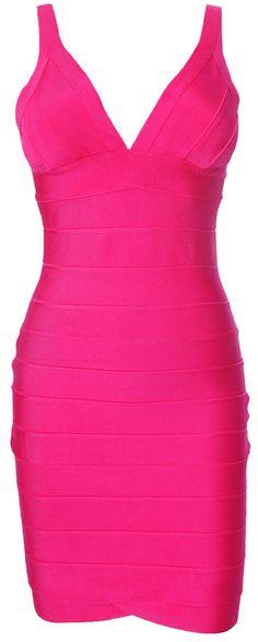 Herve Leger Signature Essentials V Neck Dress Fuchsia                                                       Style: HL10077