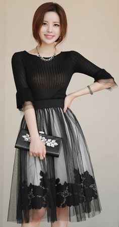 Black Rose Lace Mesh Flared Skirt – Daily Posts for Women Style Casual, Feminine Style, Feminine Fashion, Modest Fashion, Fashion Dresses, Mode Simple, Rose Lace, Floral Lace, Elegant Outfit